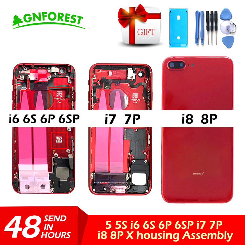 Back-Housing Battery-Cover Case-Body Middle-Chassis 6s-Plus iPhone 7 Red for with Flex-Cable