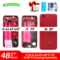 Red Back housing for iphone 6 6S Plus Battery Cover for iphone 7 8 Plus Frame Housing Middle Chassis case body with Flex Cable