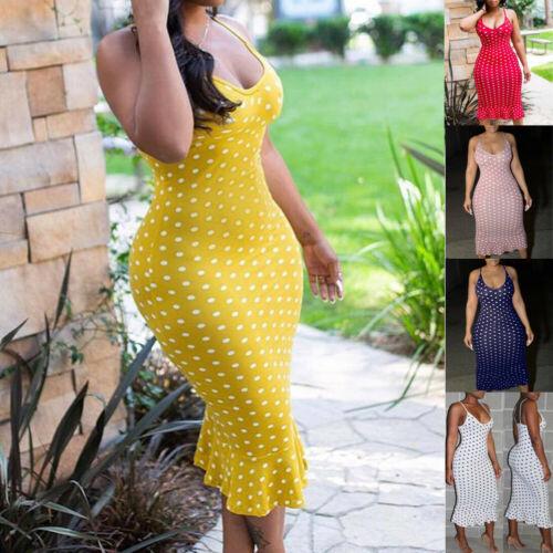 Vintage Women s Polka Dot Sling Sleeveless Backless V neck High waist Bodycon Slim Long Dress Innrech Market.com