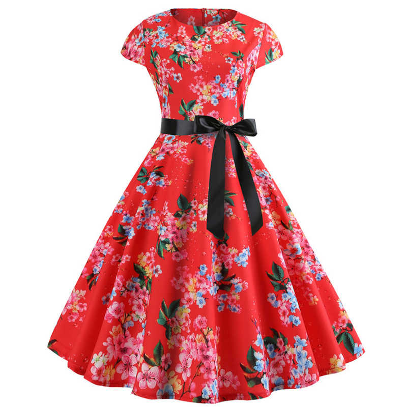 Plus Size Retro Floral Print Short Sleeve Dresses Vintage Women Dress  Summer Dress Elegant Work Office Party Dress Jurken