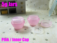5g PP Pink jars  for cosmetic mini sample jars cosmetic jar refillable bottle Empty containers Wholesale free shipping#2231