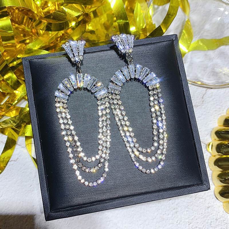 Luxury Stone Chain <font><b>Long</b></font> Drop <font><b>Earrings</b></font> For <font><b>Women</b></font> 2019 New Statement Wedding Party Big Dangle <font><b>Earrings</b></font> Jewelry <font><b>Sexy</b></font> Bijoux image