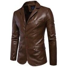 ขนาดM 5XLผู้ชายธุรกิจสบายๆกระเป๋าหนังตกแต่งใหม่ฤดูใบไม้ร่วงและฤดูหนาวชุดเปิดลงปกเสื้อหนังแจ็คเก็ตผ้า