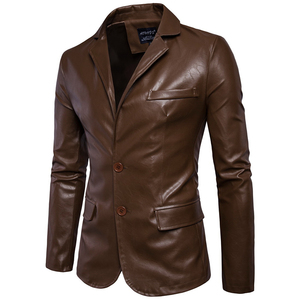 Image 1 - Size M 5XL men business casual leather pocket decoration new autumn and winter suits turn down coat collar Leather jacket cloth