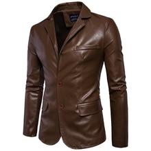 Taglia M 5XL uomini business casual in pelle tasca decorazione nuovo autunno e inverno abiti turn down bavero del cappotto giacca di Pelle panno