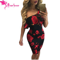 Dear Lover Red Rose Print Frill One Shoulder Midi Dress LC61155