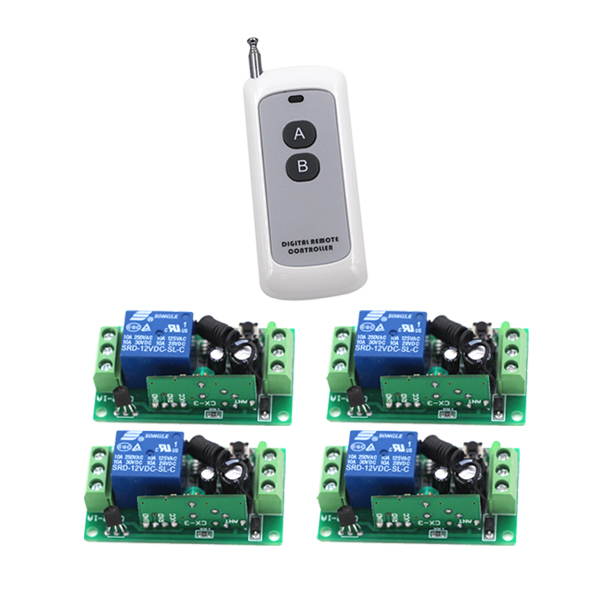 Hot Sales Relay Switch Normally Open Closed RF Wireless Remote Switch Smart Home Receiver Handheld Transmitter 4Relay relay remote controller dc4v 4 5v 5v 6v 7 4v 9v 12v wireless relay switch 10a normally open close power remote on off rf rx tx