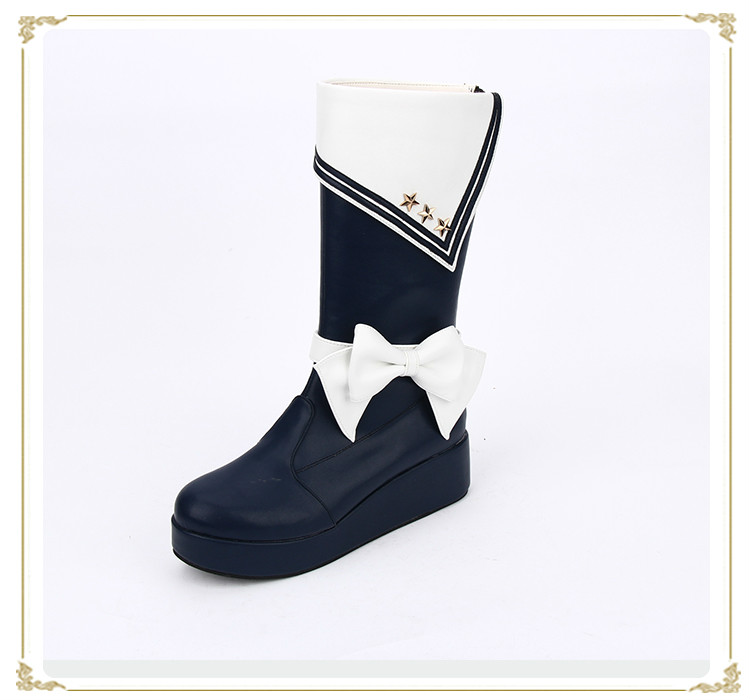 Princess sweet lolita shoes custom classic naval style wedges butterfly decoration thick bottom platform boots pu8490Princess sweet lolita shoes custom classic naval style wedges butterfly decoration thick bottom platform boots pu8490