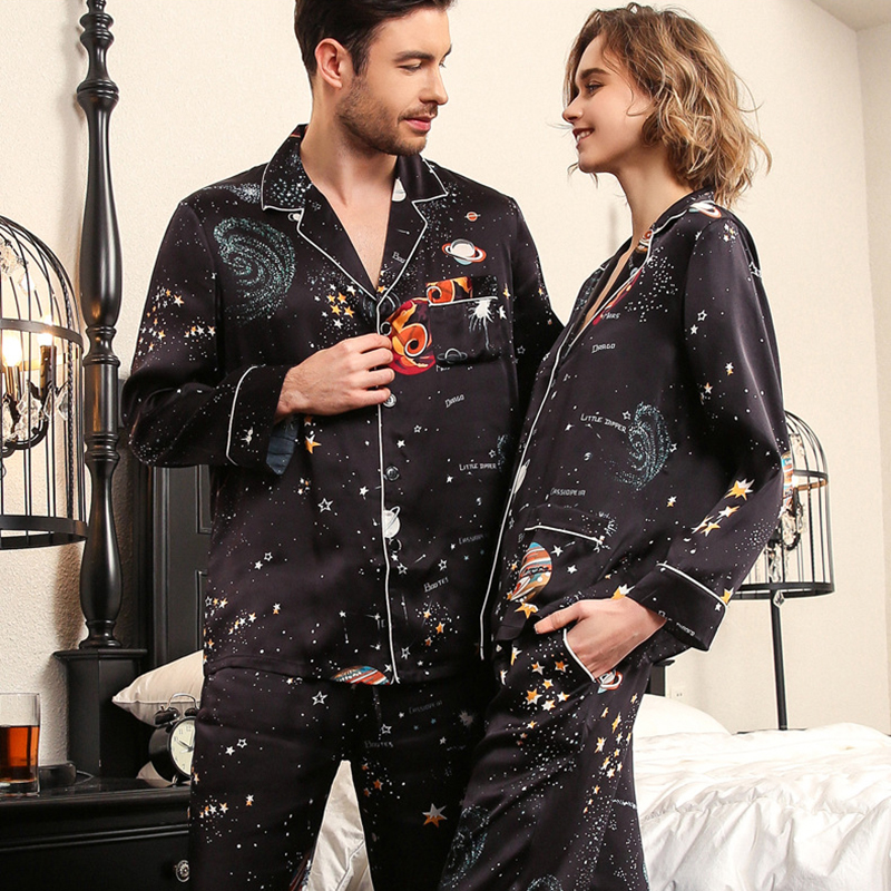 Real Silk Pajama Female Summer Long-Sleeve Silkworm Silk Couple Sleepwear Black Starry Sky Male Pajamas Two-Piece Sets T8197QL
