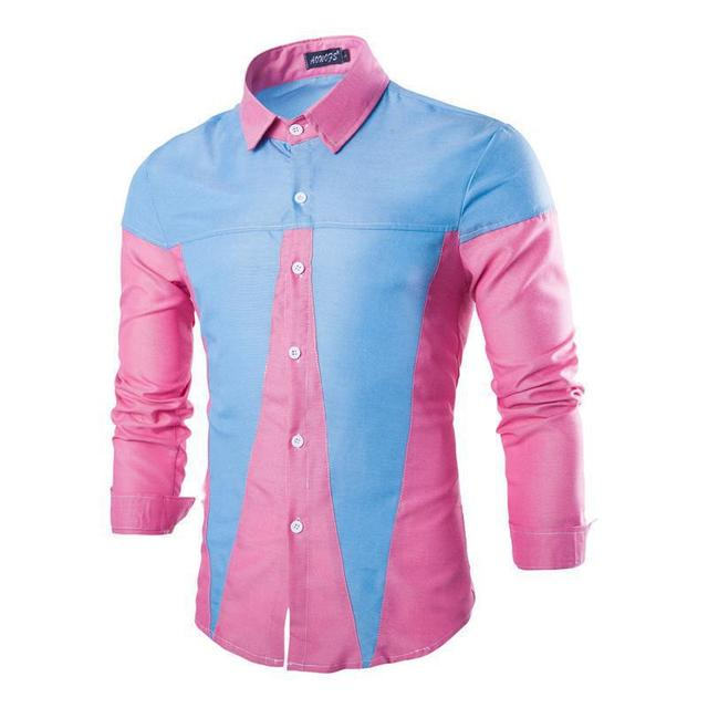 New Pink Men Shirt Long Sleeve Chemise Homme 2016 Fashion Design Mens Slim  Oxford Dress Shirts Brand Patchwork Camisa Masculina aea50e6cd45