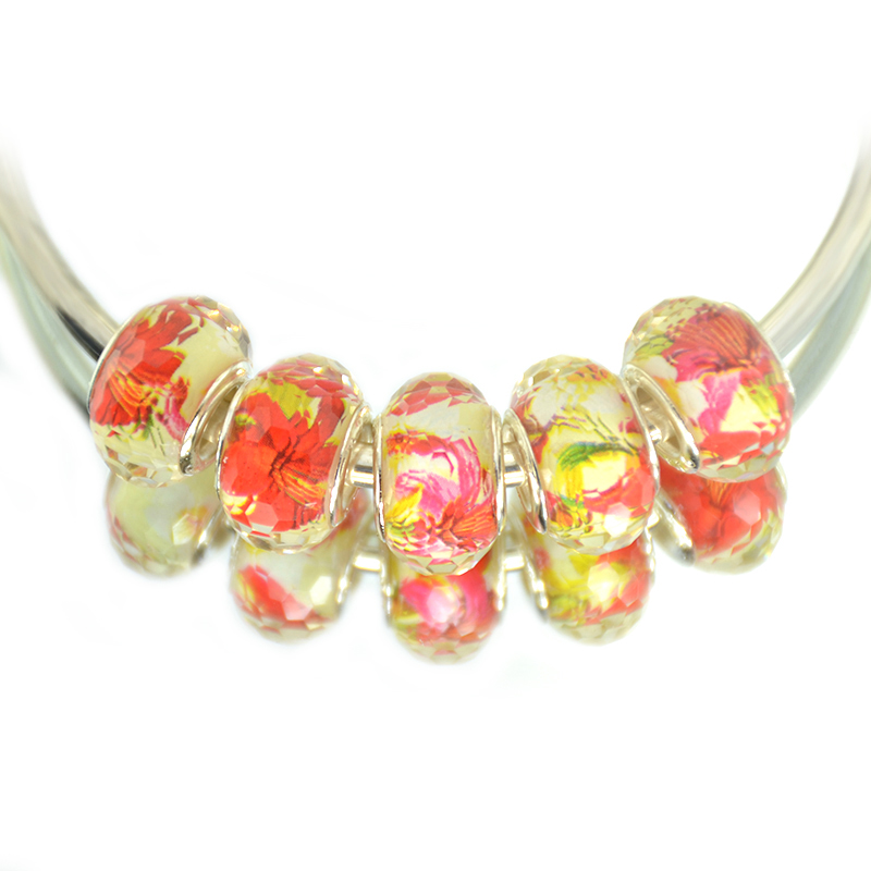 Cuts Faceted Color Silver Plated Cord Big Hole Rainbow Design Acrylic Jewelry Loose Bead ...