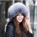 2015 Best Christmas gift! New Arrival Fashion women genuine fox fur hat Russian warm leifeng fur Cap 1 Color