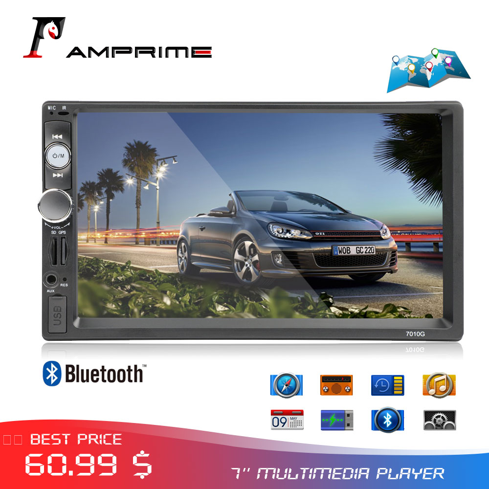 AMPrime 2din Car Radio <font><b>Autoradio</b></font> GPS Navigation Bluetooth Touch Screen 2 din Audio Stereo FM Car Multimedia Player MP5 Stereo image