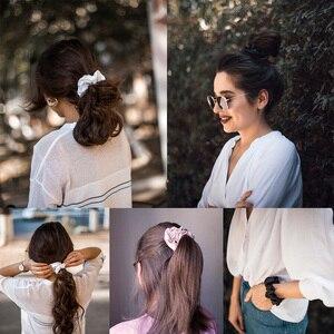 Image 2 - LilySilk 100% Pure Silk Scrunchiesชุด 5 แพ็คCharmeuseหัวผมBandอุปกรณ์เสริมCareหรูหราสีสุ่ม