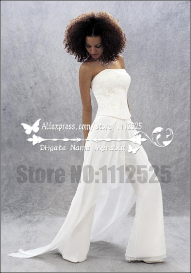 Awp 1007 Beautiful Bridal White Chiffon Jumpsuit For Bridal Pant