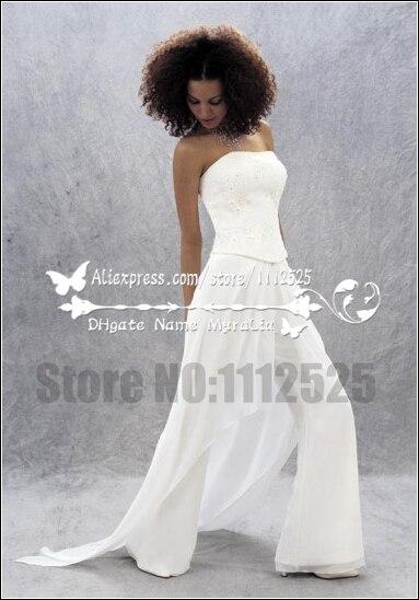 a80065df8c78 AWP 1007 bella bridal white chiffon tuta per da sposa pant abiti per la  cerimonia nuziale in AWP-1007 bella bridal white chiffon tuta per da sposa  pant ...