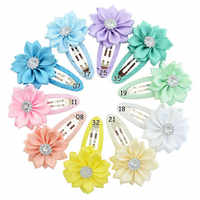 10 piezas de flor de satén con diamantes de imitación bebé niñas BB clip niños flores horquilla pequeños clips para el cabello Niños Accesorios para el cabello