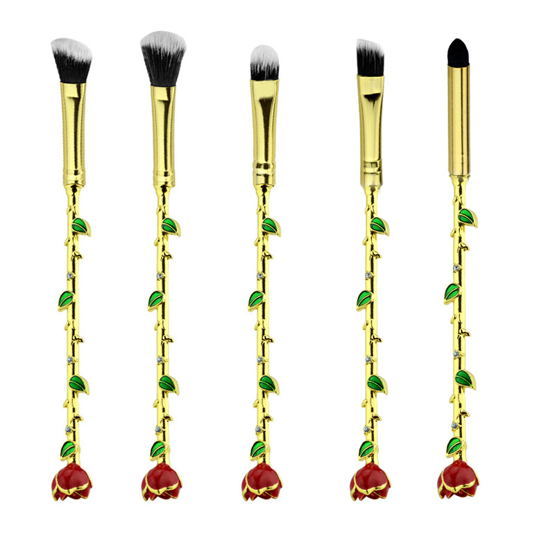 2017 Beauty and Beast Brush Necklace Jewelry With Sparkle Gem Rose Makeup Brush Her Beauty Women