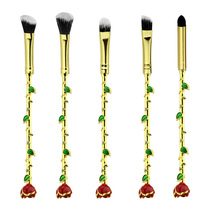 2017 Beauty and Beast Brush Necklace Jewelry With Sparkle Gem Rose Makeup Brush Her Beauty Women Girls Gift Crystal Rose Makeup