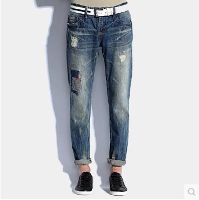 ФОТО Men 's new retro nostalgic men' s personality beggars holes jeans trousers