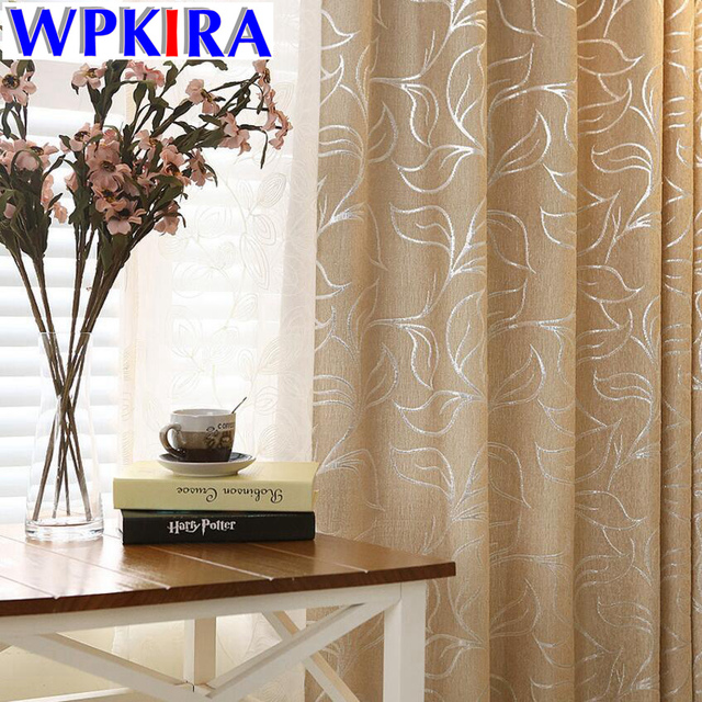 Leaves Chenille Jacquard Blinds Fabric Window Curtain Silver Blackout Custom Shade Thermal Panels For Bedroom