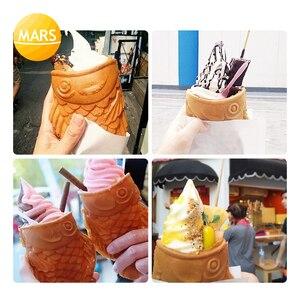 Коммерческий аппарат для изготовления стаканчика-тайяки для мороженого, электрическая Рыбная вафельница, конусная машина, железная сковор...