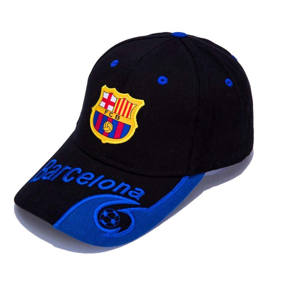 Barcelona Black/Blue F.C Embroidered Outdooors Adjustable Men's   Baseball     Cap   For Soccer Fans