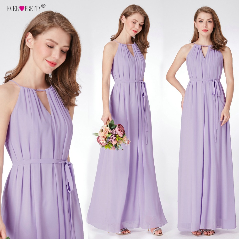 Chiffon Purple   Bridesmaid     Dresses   Ever Pretty New Arrival Simple A-line Sleeveless Cheap Long Elegant Women Wedding Party   Dress