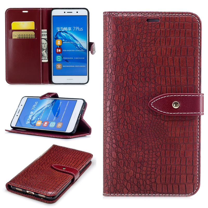Wallet Case For Capa Huawei Y7 Y7 Prime Filp Cover Stand Card Slots Crocodile Pattern PU Leather Luxury Mobile Phone Bags Cases