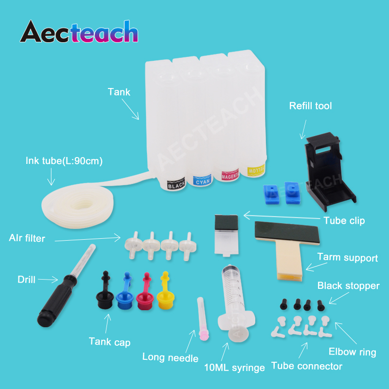 Aecteach Ciss Ink Tank For HP 2620 2630 3720 3730 Deskjet Printer Ink Cartridge Continuous Ink Supply System IP304 304 XL