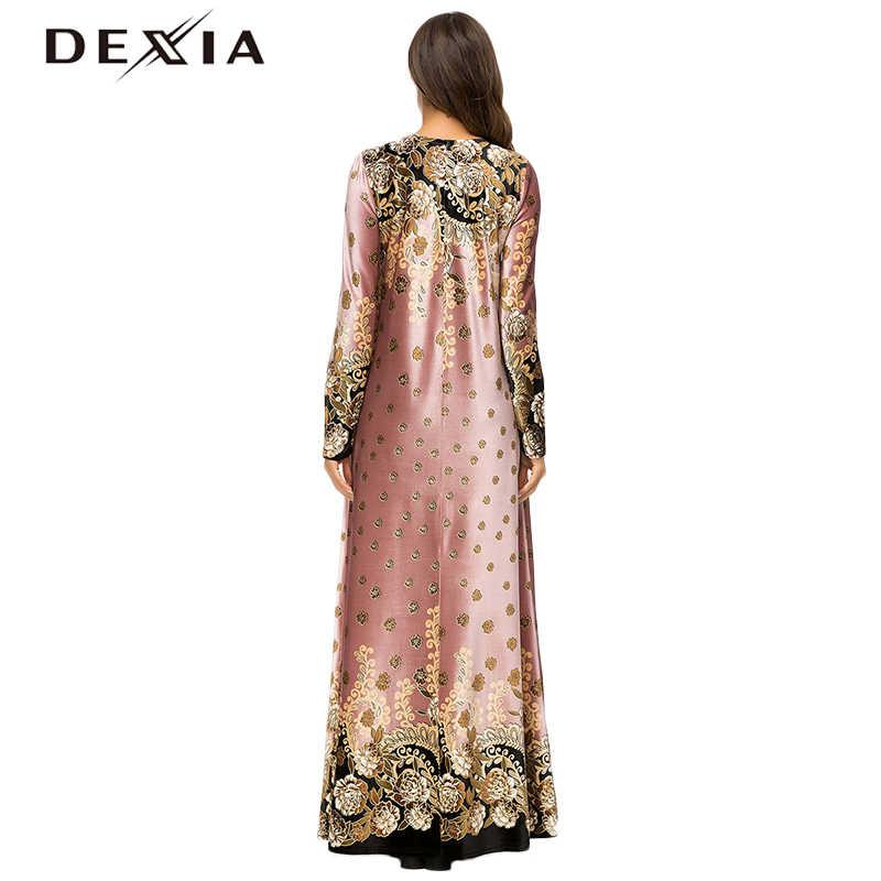 7b335c945a ... Dexia Bohemian Jurk Velvet Robe Plus Size 4XL Dress Women Flower Full  Sleeve Spring Party Maxi ...