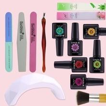 9w Uv Led Lamp 6 Color Soak Off Gel Nail Polish Kit Manicure Kits