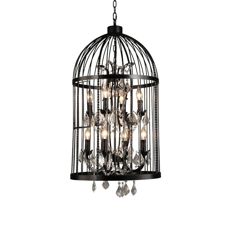bird cage Creative Crystal 4 8 light pendant light American retro country art Iron loft birdcage Bar Art Deco Light E14 bulb victoria charles art deco