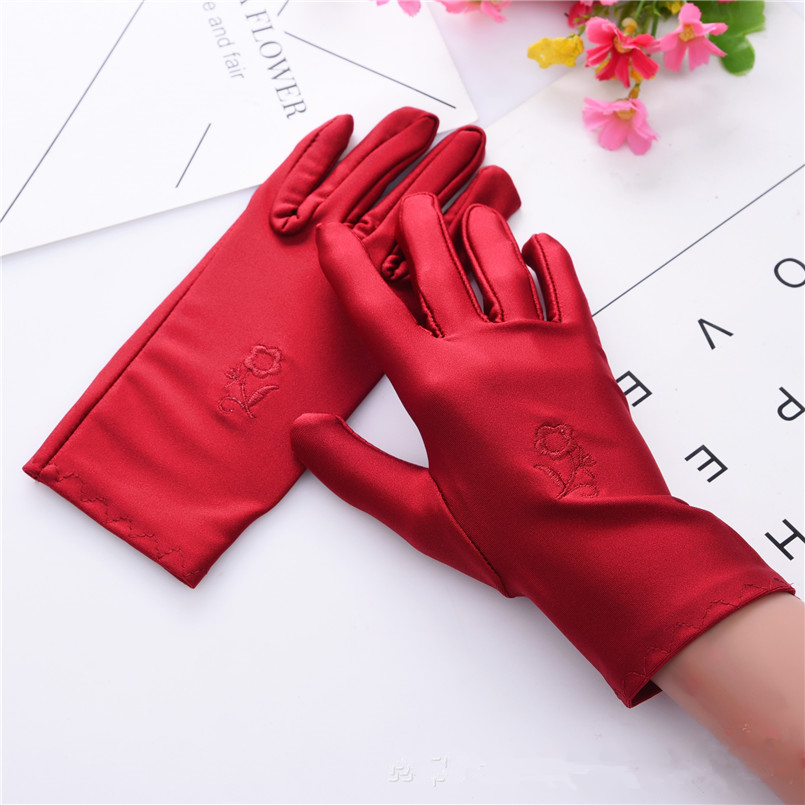 1 Pair Spring And Summer New Women's Embroidered Spandex Gloves Short Driving Gloves White Black Red Party Gloves Guantes