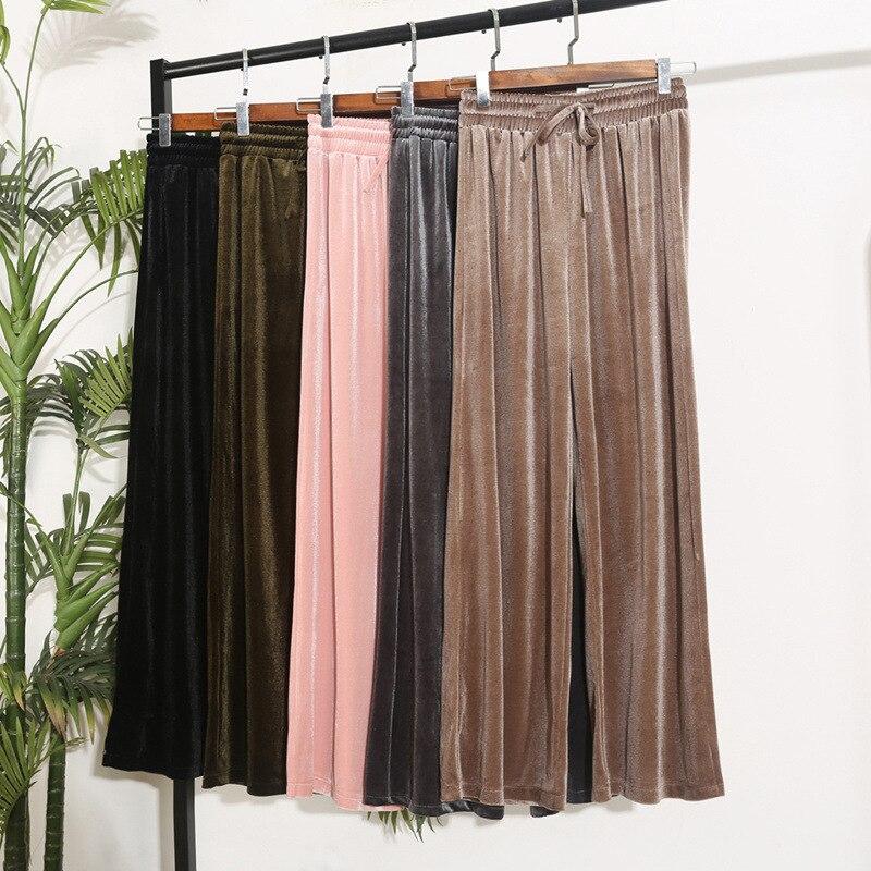 Wide leg   pants   women velvet straight pantalones elastic waist trousers VELOUR bottoms loose high waist   capris   warm Palazzo   Pants