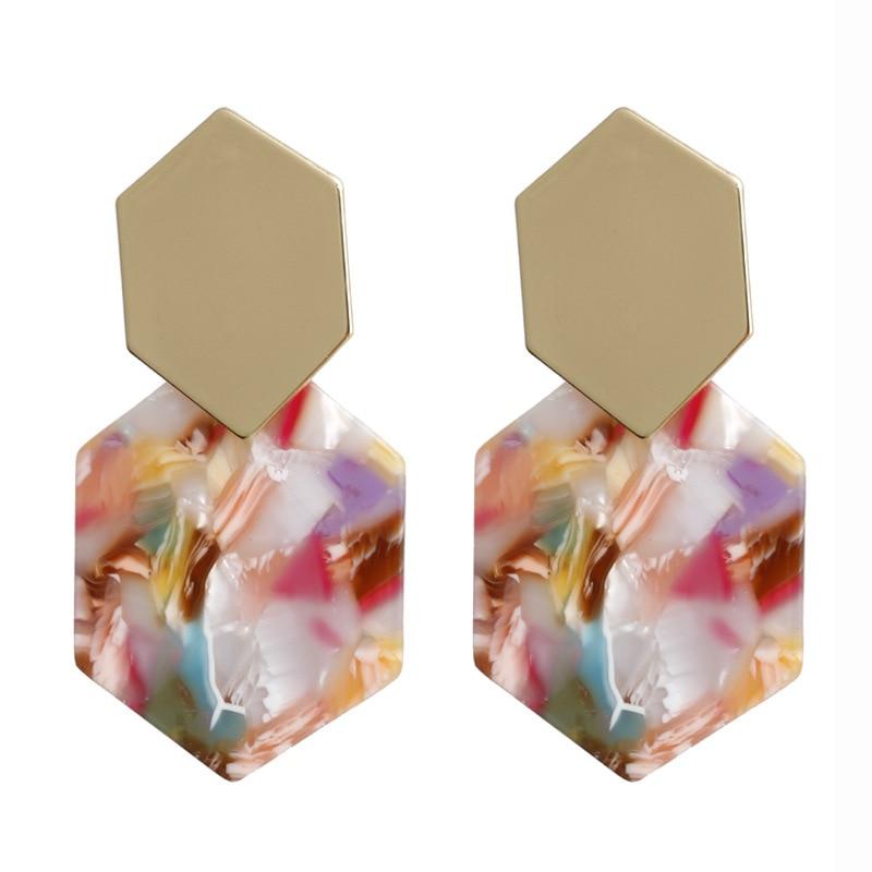 Women Simple Exaggerate Acetate Geometric Acrylic Earrings Tortoiseshell Leopard Wooden Long Alloy Drop Earrings in Drop Earrings from Jewelry Accessories