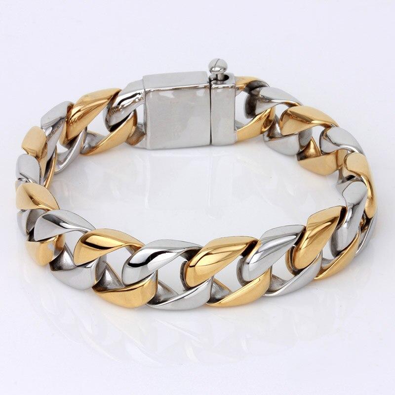 unique bicolor gold color surgical titanium stainless steel mens chain bracelets 2015 fashion masculine jewelry все цены