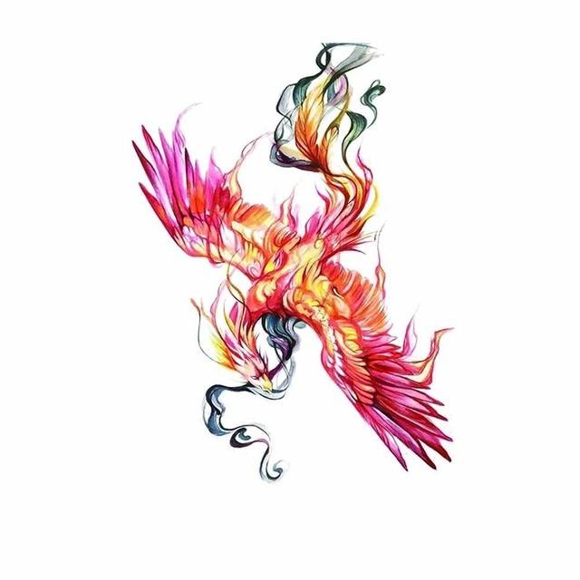 HXMAN Colorful Watercolor Phoenix Dragon Temporary Tattoos for Kids Women Hand Tatoo Sticker Body Art 9.8X6cm A-114 4