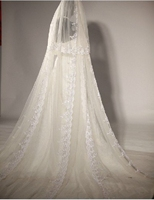 TwoLayers Lace Bead Pearl Wedding Veils High Quality 3m Long 3m Width Bridal Veil Mantilla Cathedral Wedding Veil With Comb V729