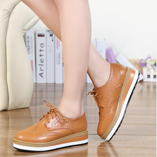 Women Platform Oxfords Shoes Brogue Genuine Leather Flats Shoes Bullock 4.5 cm Height Increasing Shoes Creepers Chaussure Femme qmn women crystal embellished natural suede brogue shoes women square toe platform oxfords shoes woman genuine leather flats