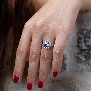 Image 5 - OneRain 100% 925 סטרלינג כסף נוצר Moissanite עגול לחתוך חן חתונת אירוסין זהב לבן טבעת תכשיטי מתנה סיטונאי