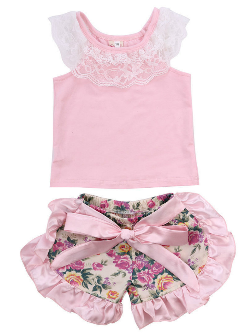 2017 Toddler Baby Girl Clothes Lace Tops T-shirt and Floral Shorts Culottes Outfits Kids Clothing Set Costume 0-24M 3pcs kids baby clothes girl lace floral tops t shirt pants shorts outfits set children infant girls clothing