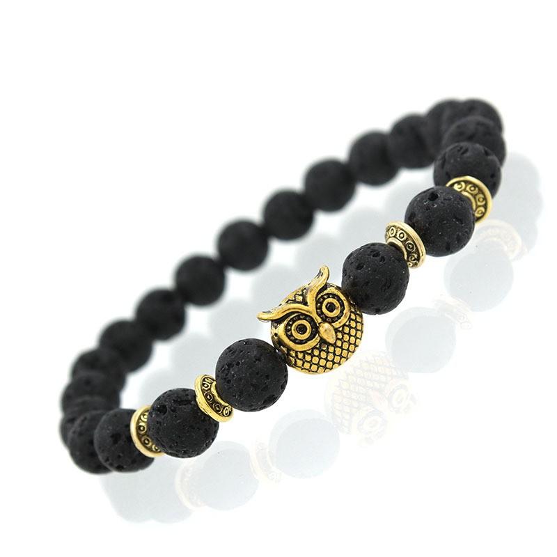 Natural Lava Black Stone Bracelet With Gold Owl