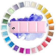 Paints Watercolor-Paint Palette Drawing-Tool Metal-Case Artist Solid-Colors 12/24-Glitter