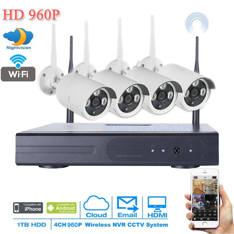 NEW 4PCS Wireless Wifi IP Camera 960P Bullet Weatherproof P2P With 4CH 720P/960P/1080P NVR kit Surveillance CCTV System Kit