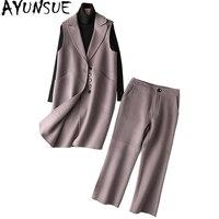 AYUNSUE 2 Piece Set Women Long Wool Vest Top Ankle Length Pants Women's Suit Spring Autumn Coat Outfits conjunto feminino YQ1350
