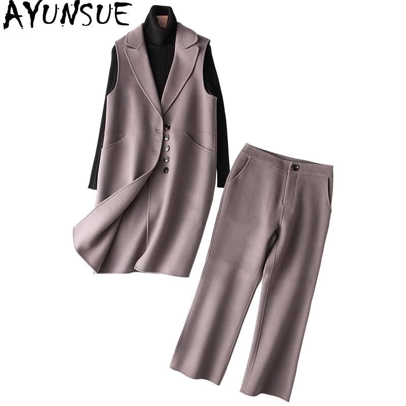 AYUNSUE ensemble 2 pièces femmes Long laine gilet haut cheville longueur pantalon femmes costume printemps automne manteau tenues conjunto feminino YQ1350
