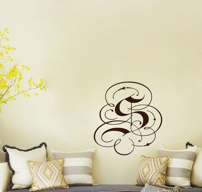 Fancy Monogram Letter wall decals vinyl stickers home decor living room  decorative stickers bedroom wallpaper(