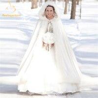 Bealegantom Zarif Beyaz 2016 Sıcak Gelin Pelerin Kış Kürk Kadın Ceket Gelin Kat Uzunluk Pelerinler Uzun Parti Düğün Ceket QA933