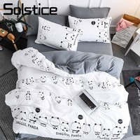 Solstice Home Textile Panda Simple White Bedding Sets Kid Teen Boys Linen Duvet Cover Pillowcase Bed Sheet Girl Adult Bedclothes